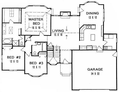 Plan 1678 3 Bedroom Ranch W Lots Of Bay Windows And 2 Car Garage Small Craftsman House Plans One Floor House Plans Log Cabin Homes