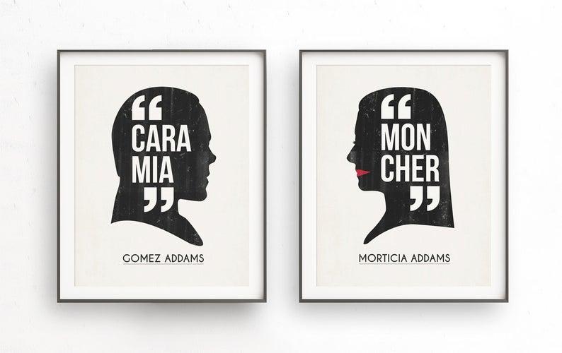 Addams Family Morticia and Gomez Cara mia mon cher Halloween signed Valentines day Witch art de