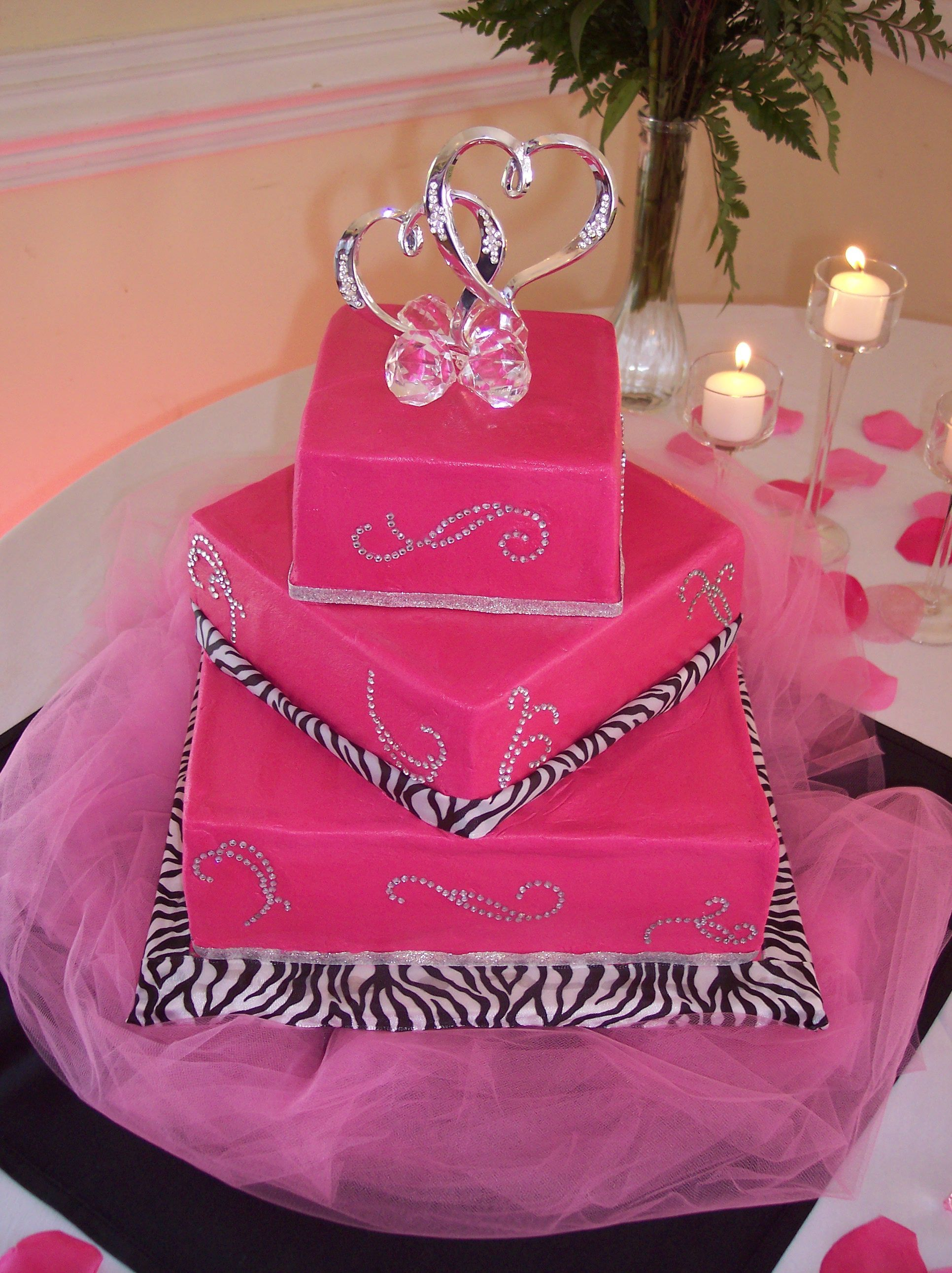 Bling-tastic Wedding - Bride\'s theme was zebra, hot pink, and bling ...