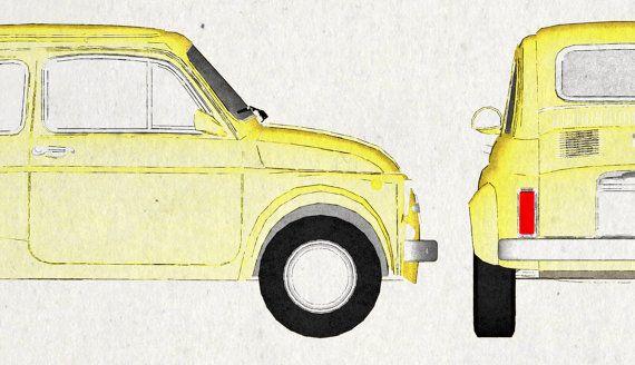 Drive like Italian. Fiat 500. Wall Art. Car Graphic. door jbFARM ...