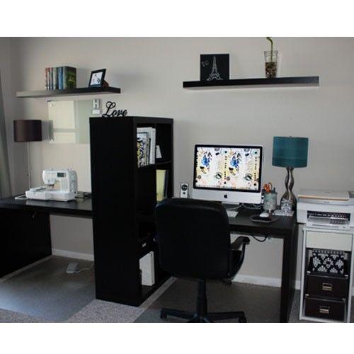 New Ikea Expedit Workstation Computer Desk Bookcase Table Black Brown Shelving Desk In Living Room Brown Shelving Craft Room Office