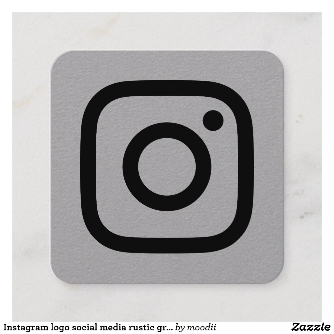 Instagram Logo Social Media Rustic Gray Kraft Calling Card
