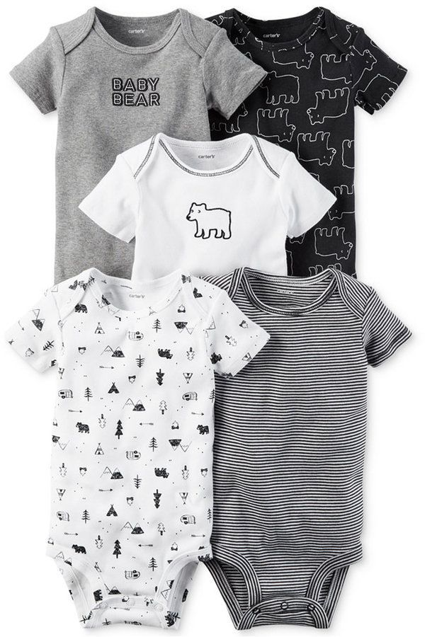 Carter's 5-Pk. Cotton Baby Bear Bodysuits, Baby Boys ...