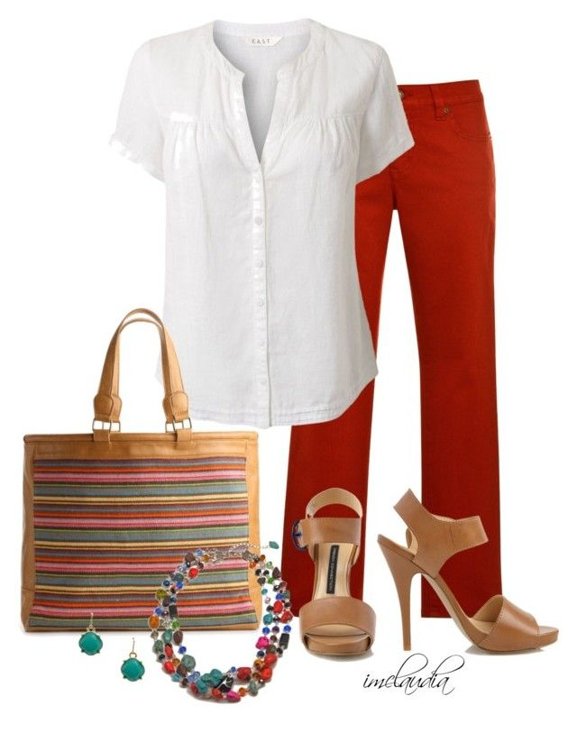 """""""White Blouse"""" by imclaudia-1 ❤ liked on Polyvore featuring Lauren Ralph Lauren, EAST, Poppie Jones and French Connection"""