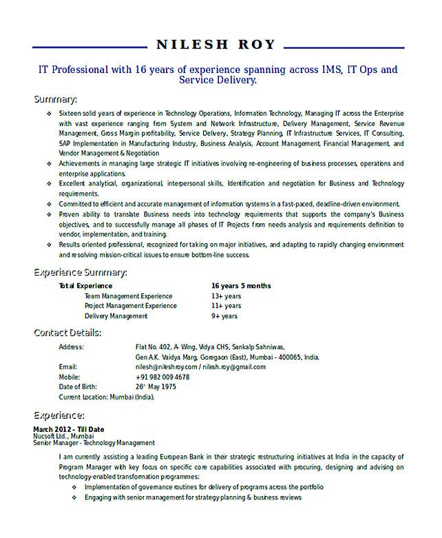 Technical Manager Resume , Good Teachers Resume Format , Writing a ...