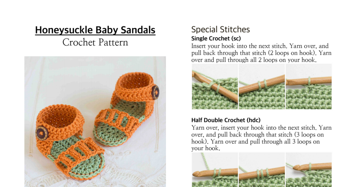 Honeysuckle Baby Sandals Crochet Pattern.pdf | crochet | Pinterest