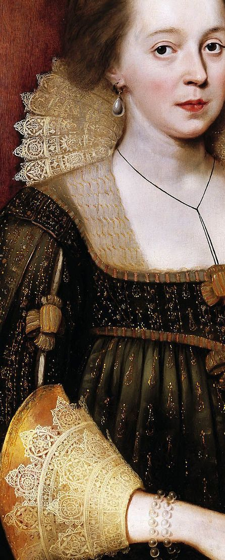 Portrait of a Young Lady, Paul Van Somer, detail