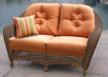 charleston loveseat with cushions by chicago wicker nci by inside rh pinterest com