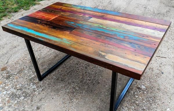 Diy Colorful Top Pallet Dining Table Pallet Dining Table
