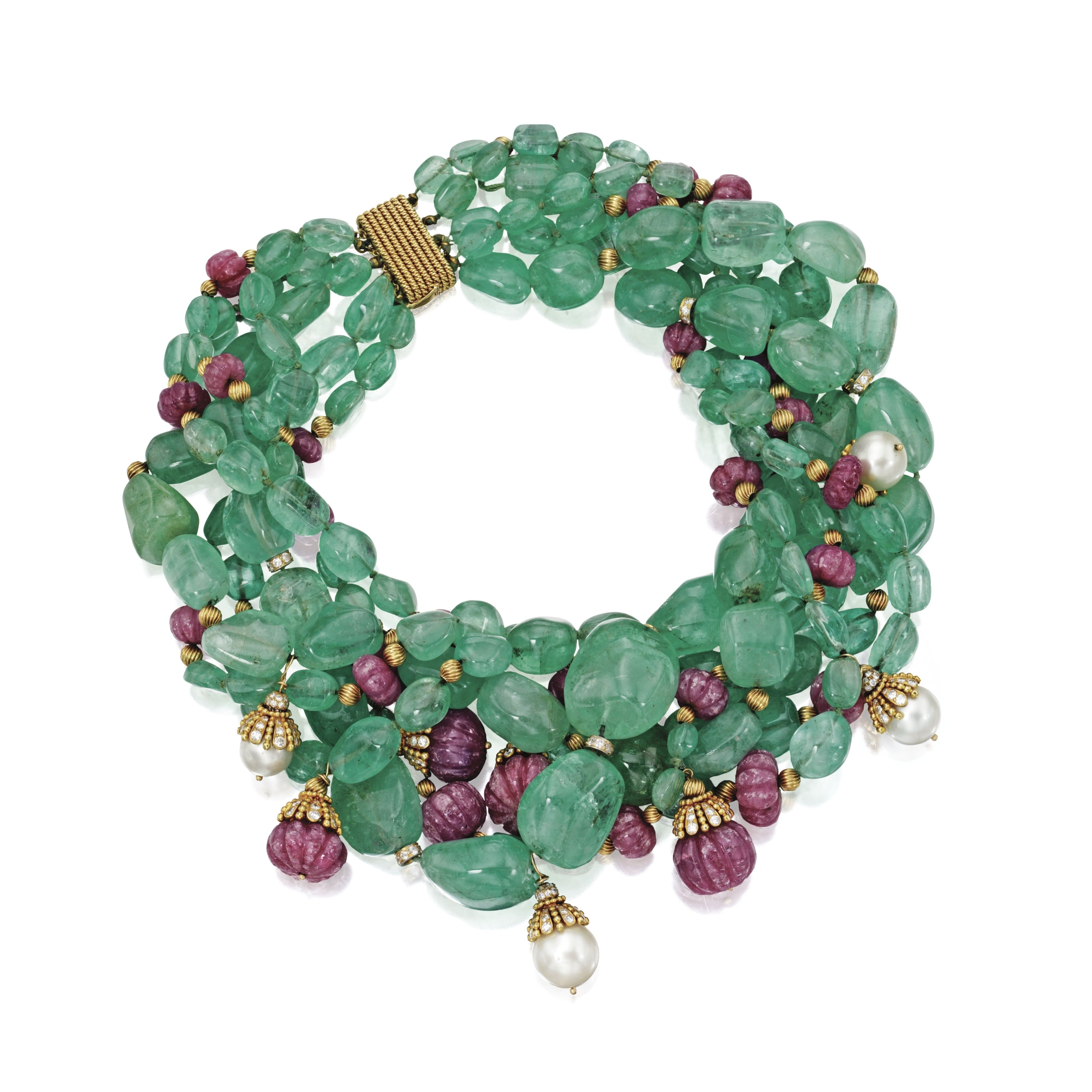 18 Karat Gold, Emerald, Ruby, Cultured Pearl And Diamond Torsade Necklace,  David