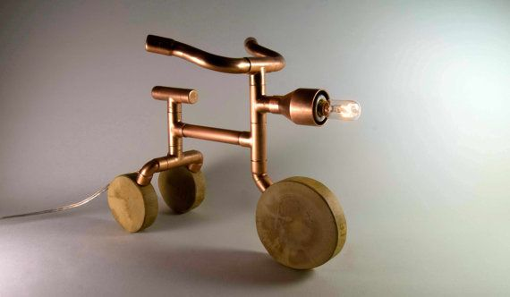 copper pipe lamp | Copper Table Lamp, Steampunk Lamp, Tricycle exposed bulb table lamp ...