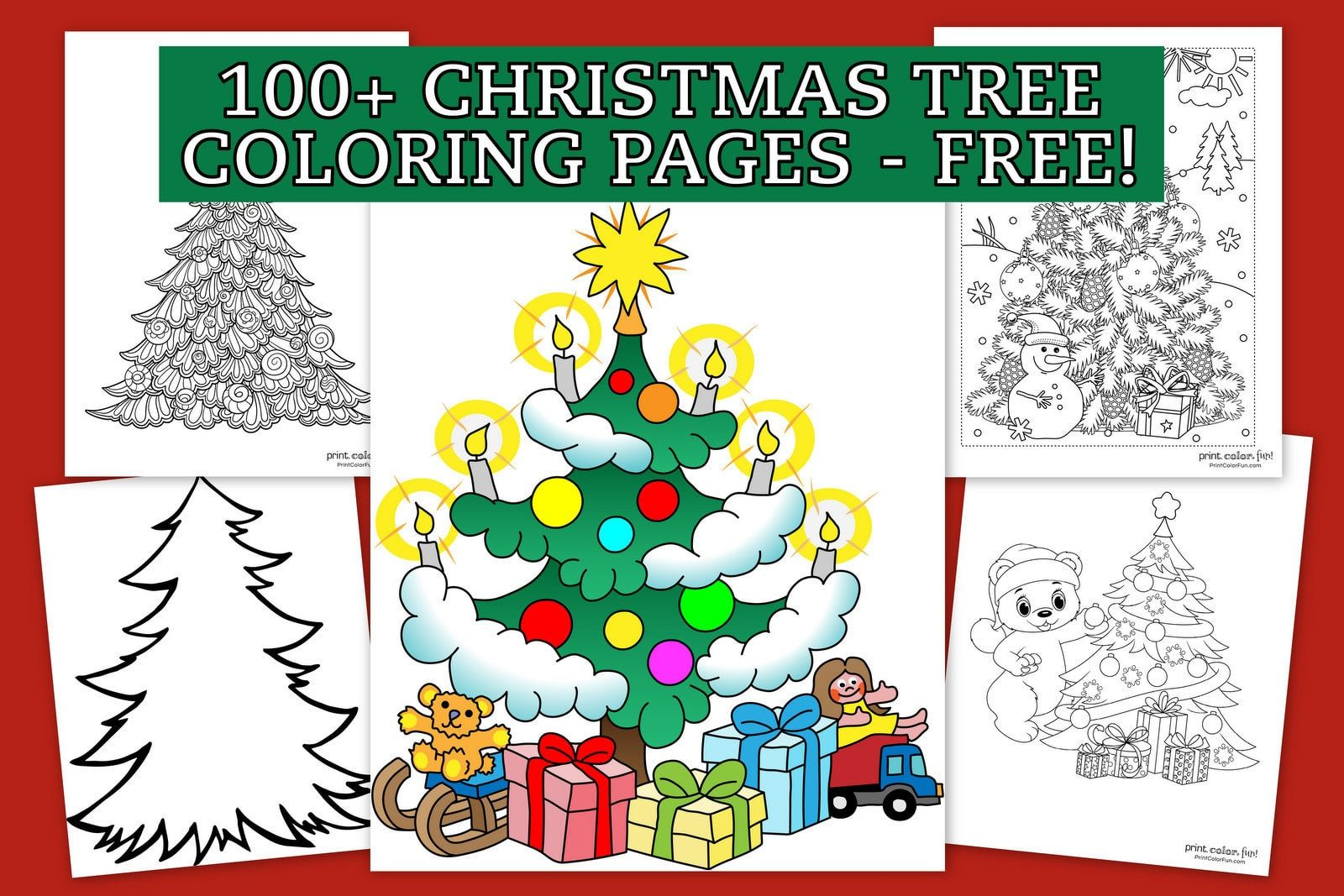 These Cheery Christmas Trees Are All Ready To Decorate And There Are More Christmas Tree Coloring Page Tree Coloring Page Printable Christmas Coloring Pages