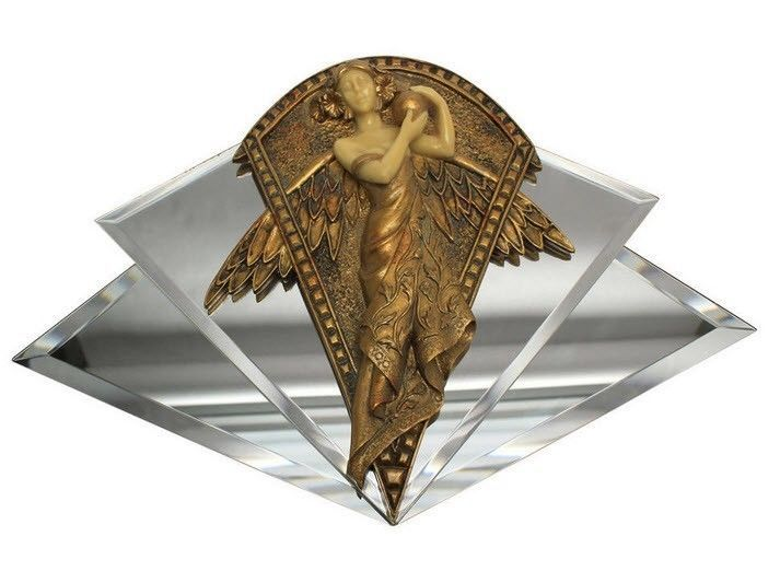 Mirror Wall Sculpture art nouveau winged angel mirror wall art sculpture + art deco