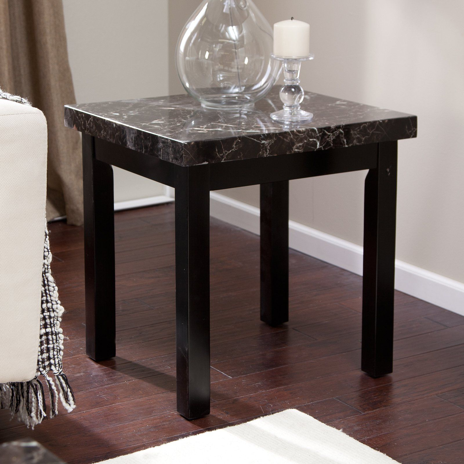Galassia Faux Marble End Table From Hayneedle Com Marble End