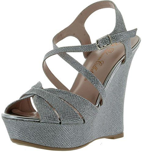 #hot Blossom Womens Baja-3 Glitter Strappy Criss Cross Platform Wedge Dress Sandals,Silver,7