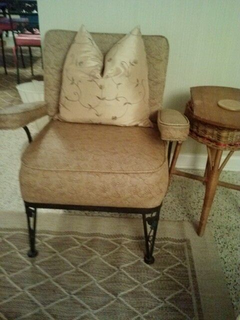 Moved a vintage chair and table. Added new down filled pillow. Matching rug under DR table visible in upper left corner of photo.