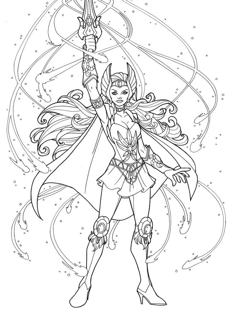 SheRa Coloring pages, Coloring books, Coloring pictures