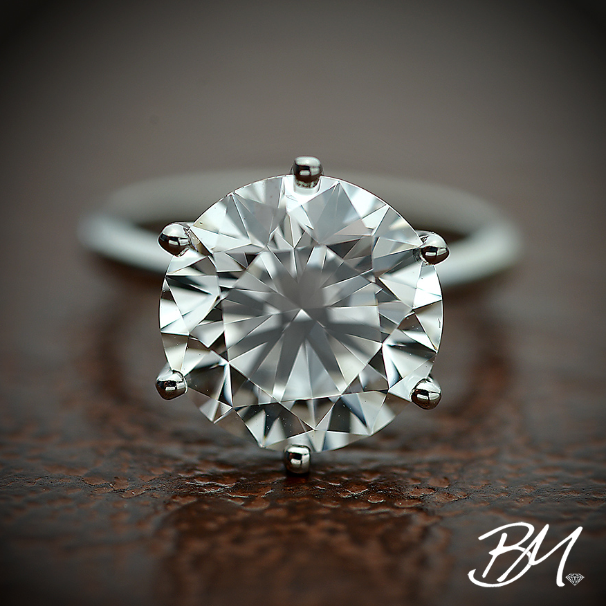 5 carat round brilliant #diamond set in a classic 6 prong solitaire band.   #weddingjewelry #engagementring #customweddingjewelry #customengagementring #brilliantmerchandising #customjewelry #whitediamond #diamondring #bridaljewelry #custombridaljewelry #platinum #platinumengagementring #wedding #bride #jewelry