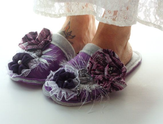 Purple floral slippers Ladies House Shoes Women ♥ by MoJosCozyToes, $55.00