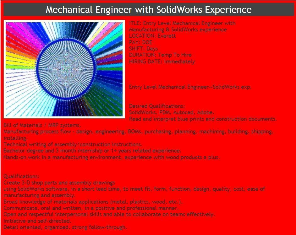 Mechanical Engineer Needed Send your resume and salary req to
