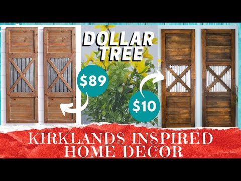 DIY WOOD SHUTTER WALL DECOR | Dollar Tree Faux Corrugated Galvanized Metal | Farmhouse Look For Less