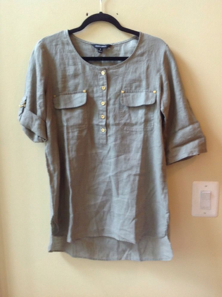 New Ellen Tracy Moss Green 100 Linen 3 4 Sleeve Tunic