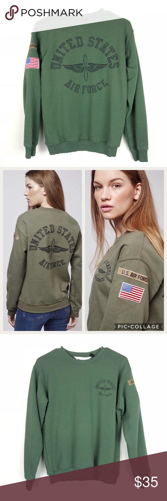 Topshop United States Air Force Crewneck Sweater Crew Neck Sweater Sweaters Topshop [ 1740 x 580 Pixel ]