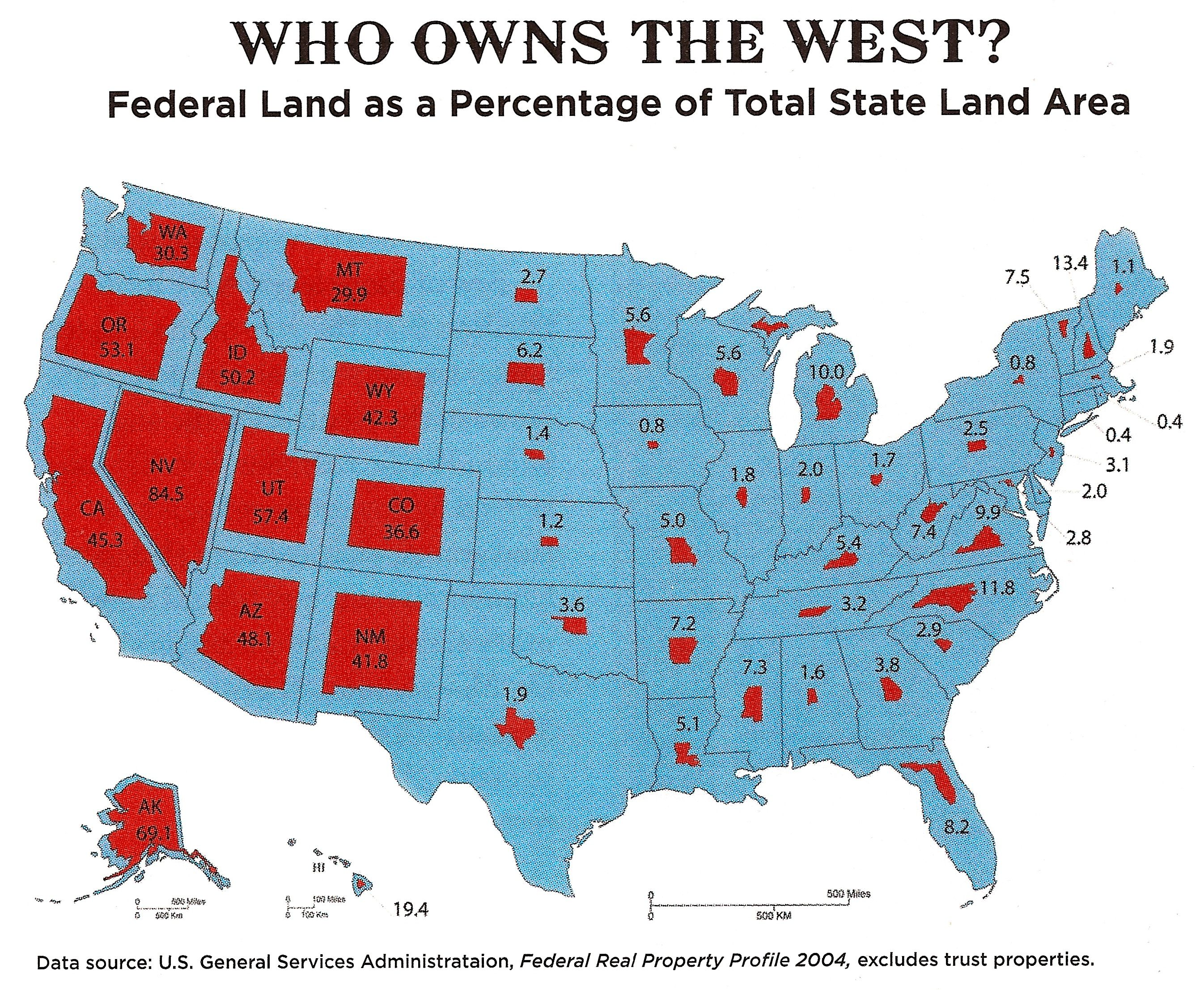 The Amount Of Land Owned By The Federal Government State By State - Us government maps