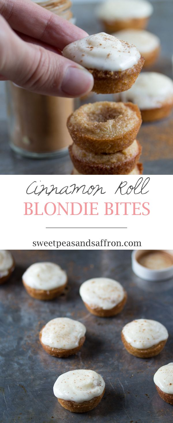 Cinnamon Roll Blondie Bites: bite-sized cinnamon sugar blondies slathered with cream cheese frosting.