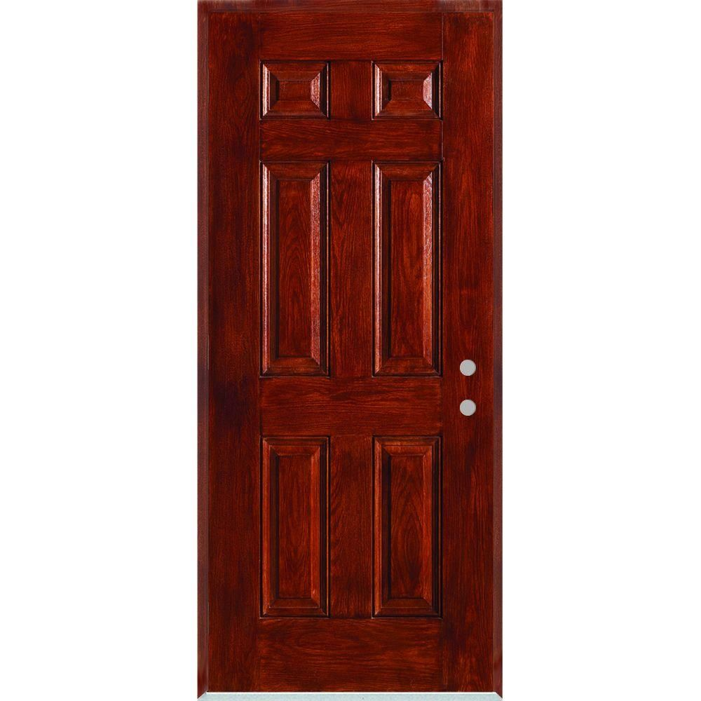 Stanley Doors 32 In X 80 In Left Hand Infinity 6 Panel Stained