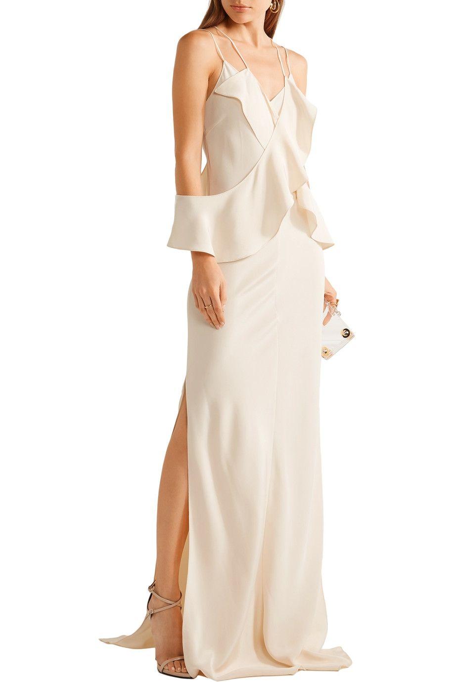 Shop on-sale Juan Carlos Obando Eiza ruffled silk-crepe gown ...