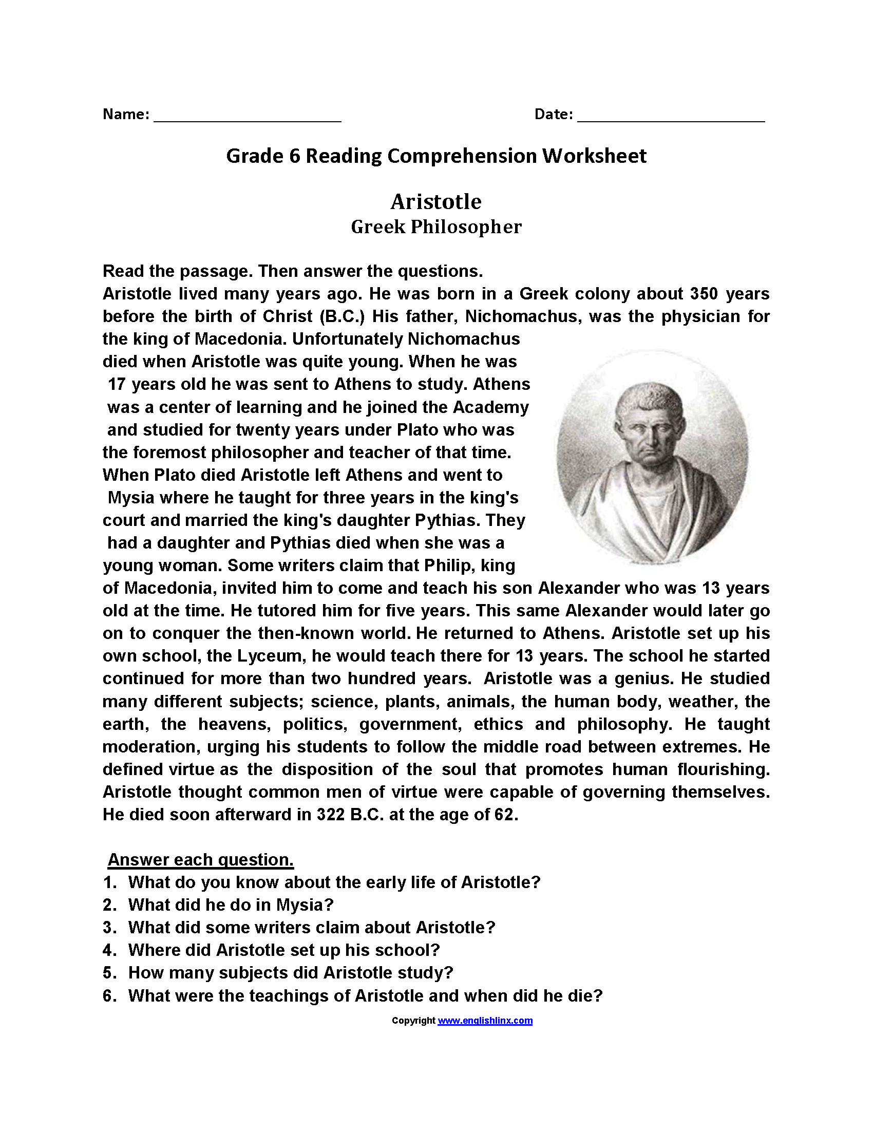 hight resolution of Reading comprehension passages grade 6 pdf   thaimacom   Reading  comprehension worksheets