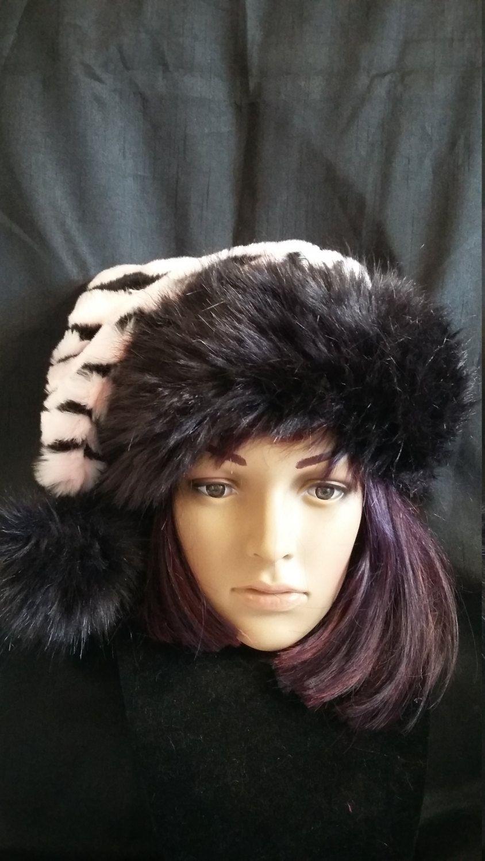 a335a9e57315c Pale pink and black Zebra print Santa hat with luxury black trim by  OriginalsByEva on Etsy