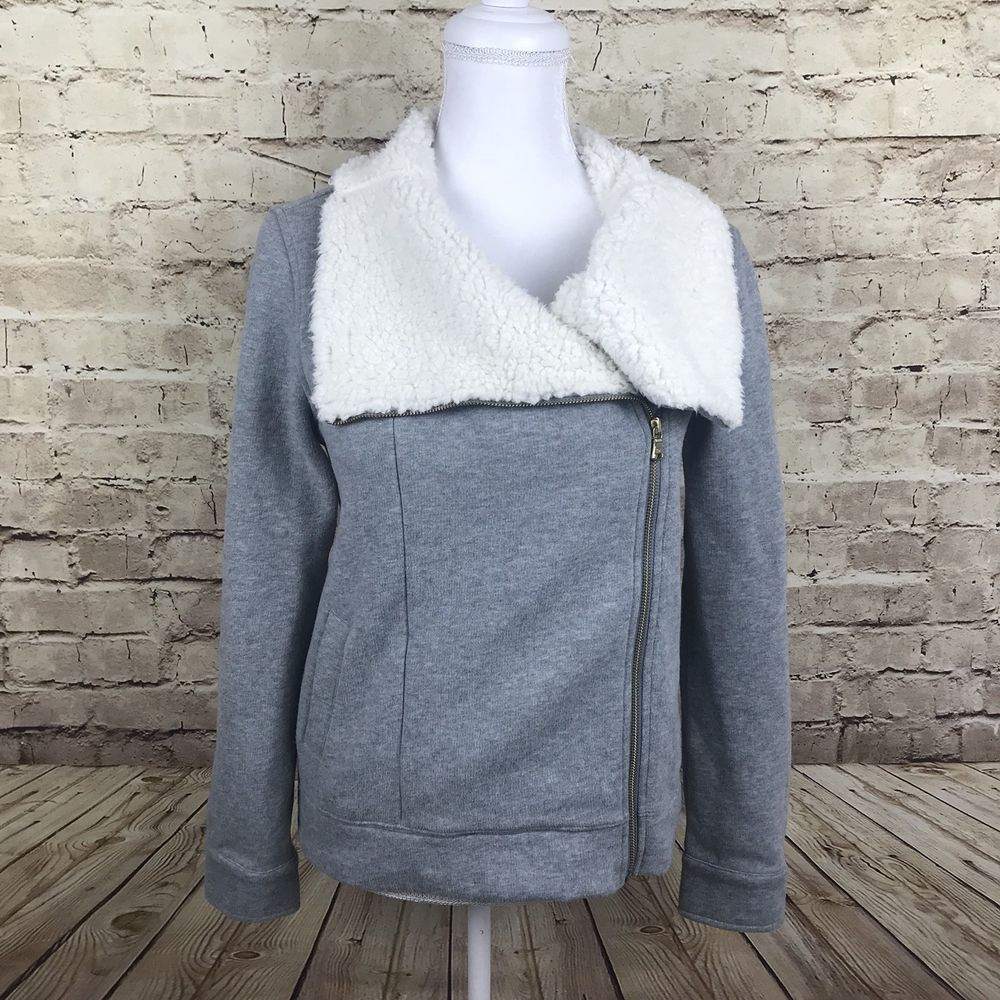 Tommy hilfiger womenus gray fleece coat jacket zip up wide collar