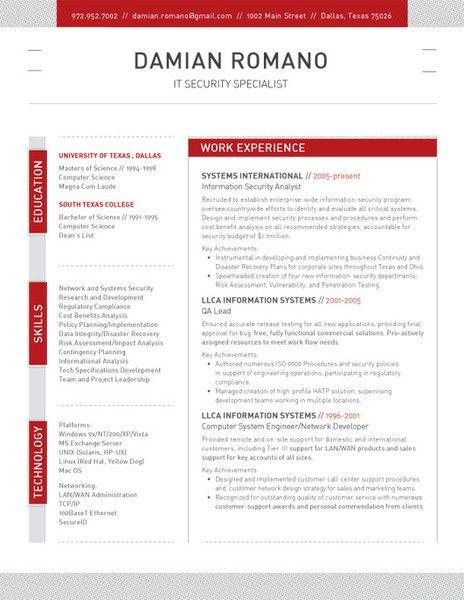 Resume Template Structured Red Loft Resumes Good Resume Examples Resume Design Resume Template