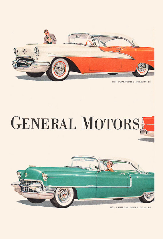 VINTAGE GM AD – Rockabilly Car Print, Vintage Car Poster, General Motors Ad, Classic Car Wall Art, Car Lover, Car Collector, Ribba Size