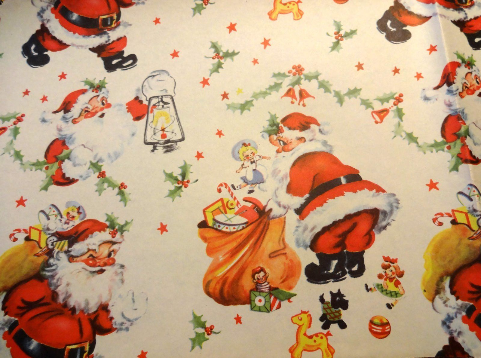 Vintage 1940 S Christmas Wrapping Paper Busy Santa Vintage Christmas Wrapping Paper Vintage Wrapping Paper Christmas Wrapping
