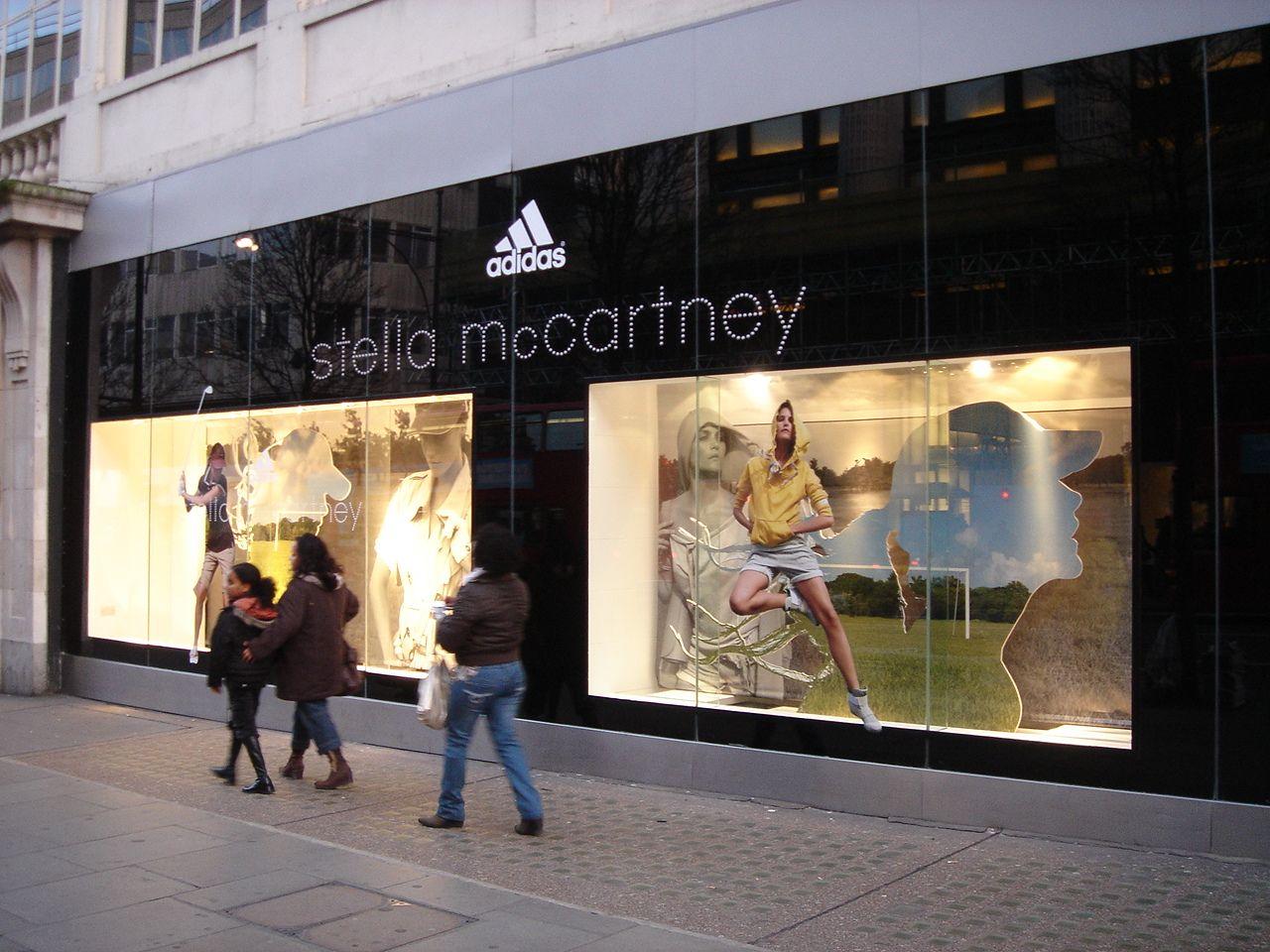 adidas and Stella McCartney windows Oxford Street