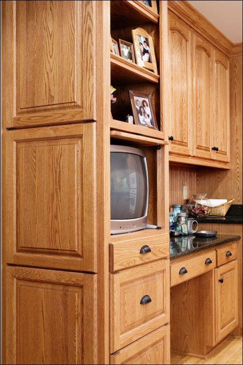 Red Oak TV Kitchen Cabinet with Appliance Garage Overlay ...