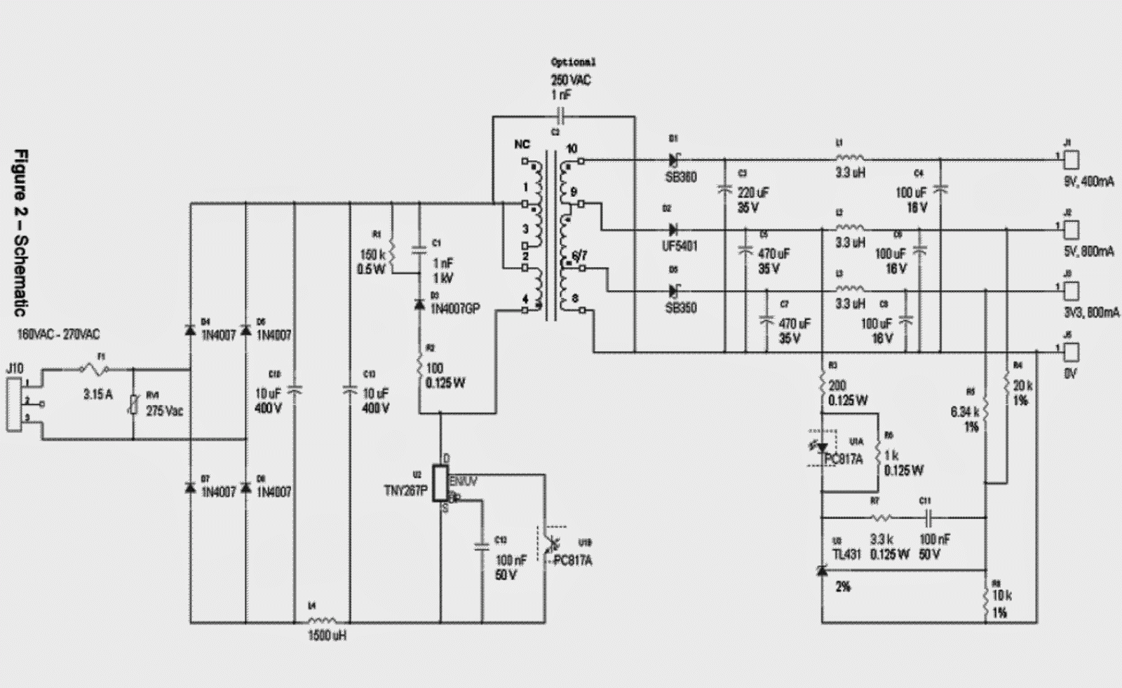 small resolution of simple 3 3v 5v 9v smps circuit