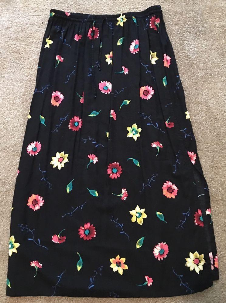 Women's Sag Harbor Black Floral Print Elastic Waist Rayon Skirt-Size Large #SagHarbor #SeePictures