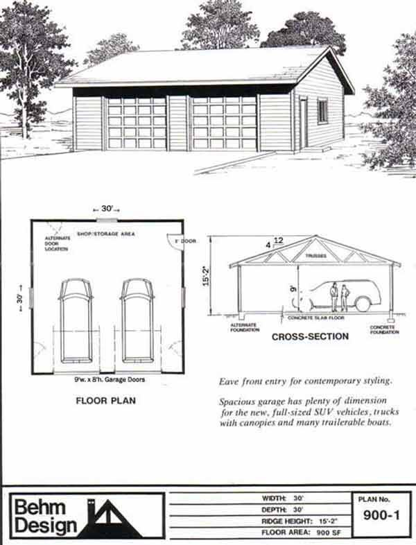 excellent 30x30 garage plans. 2 Car SUV Garage Plan with One Story 900 1 30 x30  By Behm Designs