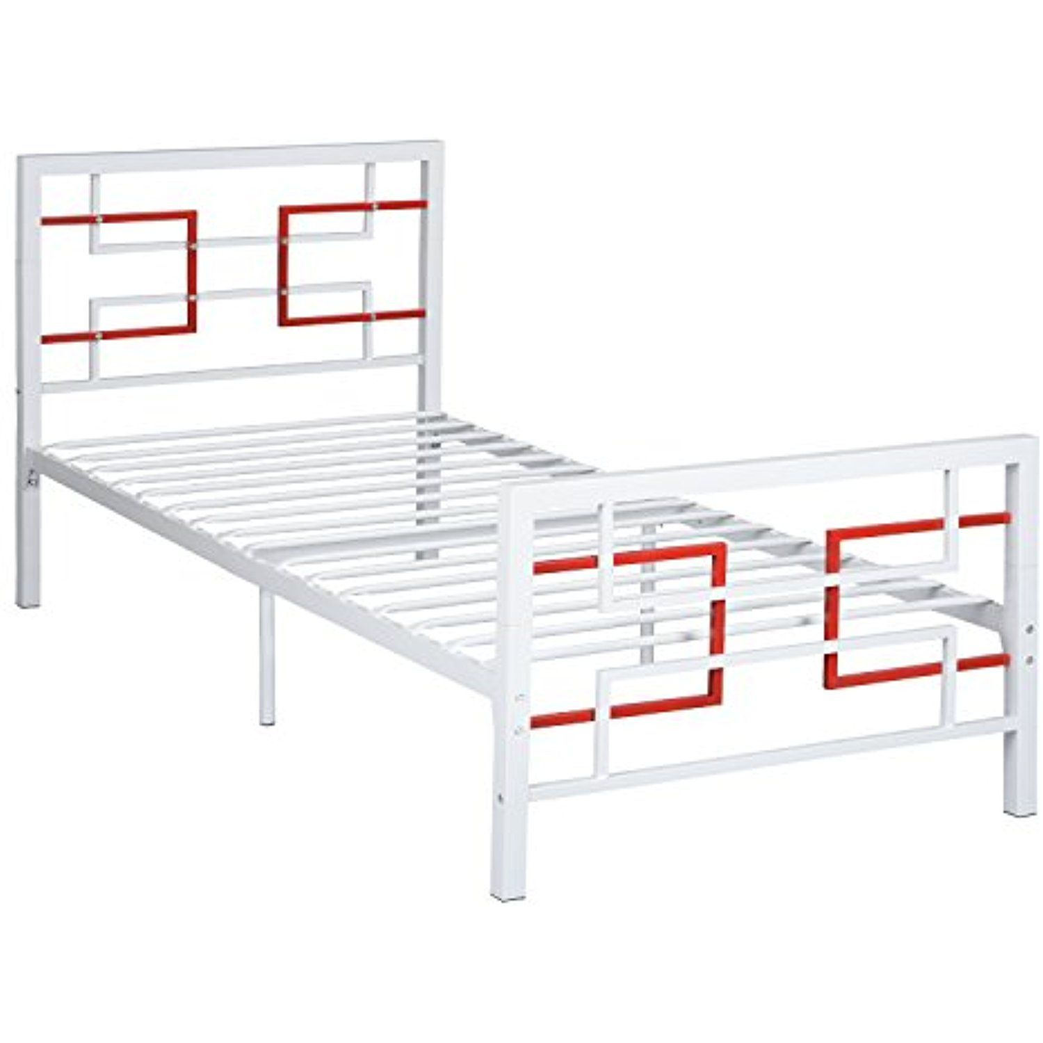 Greenforest Bed Frame Twin Size Metal Platform Mattress Foundation Box Spring Replacement With Headboard And Footbo