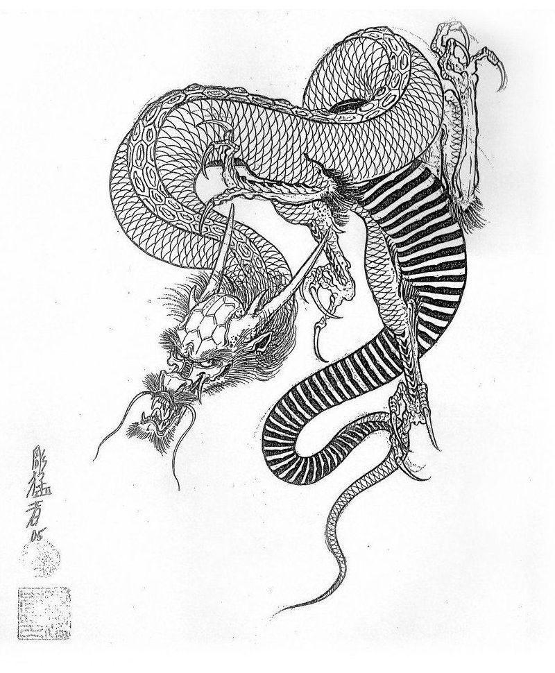 Эскизы японских драконов • Сборник работ мастера Horimouja ...
