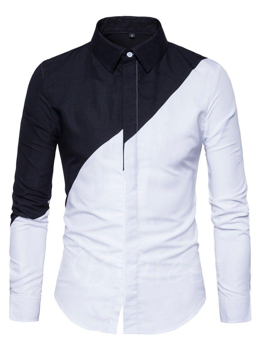 8ebe38e42c585 Lapel Patchwork Color Block Slim Fit Men s Shirt - m.tbdress.com