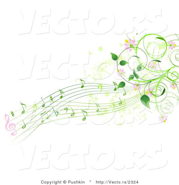 Vector Of Green Music Notes With Pink Flowers And Vines