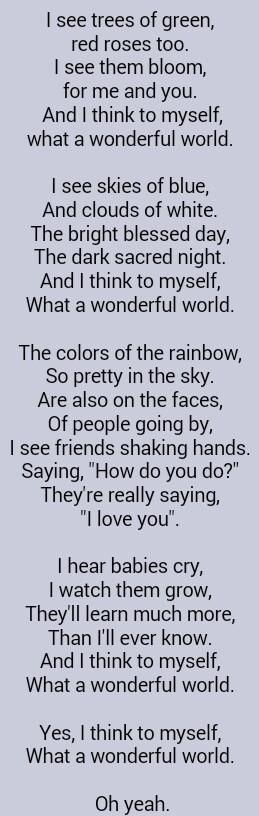 What A Wonderful World Paroles : wonderful, world, paroles, Louis, Armstrong, Wonderful, World, Great, Lyrics,, Hymns, Music, Lyrics