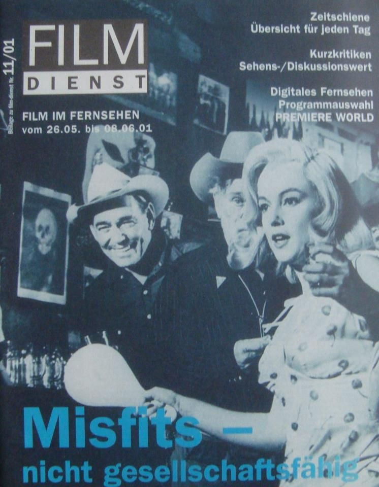 """Film Dienst - No.11, May 2001, magazine from Germany. Front cover photo of Marilyn Monroe and Clark Gable in a scene from """"The Misfits"""", 1961."""