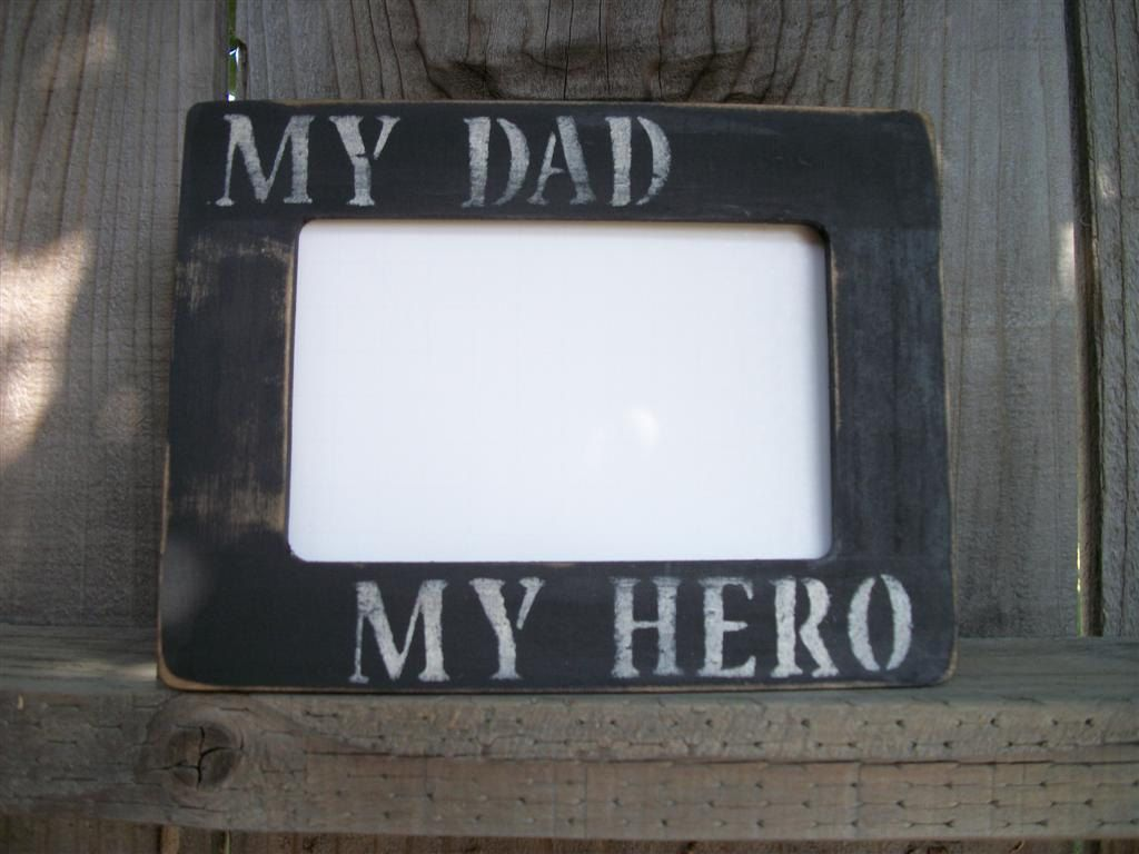 Dad Picture Frame Black Distressed Rustic Primitive Wood My Dad My