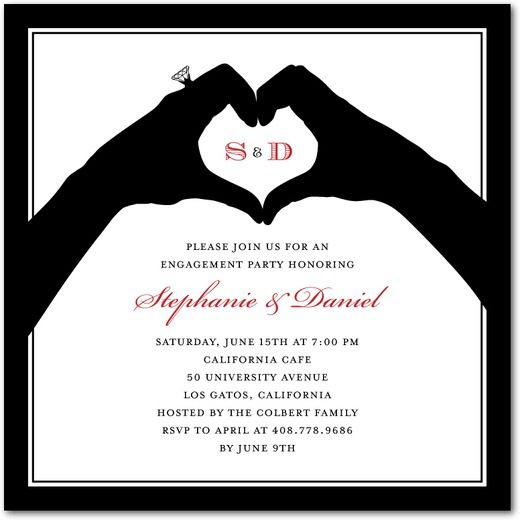 All In Hand - Signature White Textured Engagement Party - engagement party invites templates